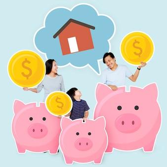 家を買うために貯蓄する家族