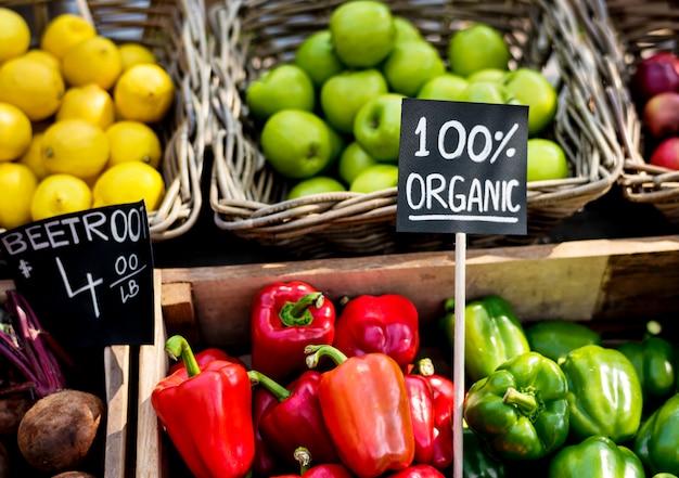農民市場における有機生鮮農産物