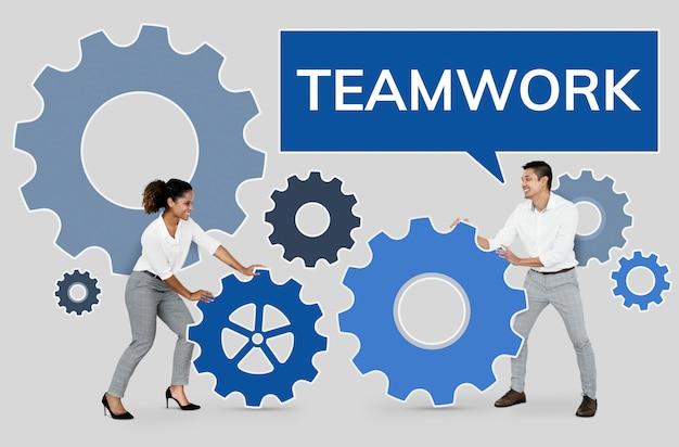 チームワークに焦点を当てるビジネス人々