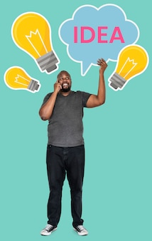 アイデアコンセプトシンボルと中年の男性