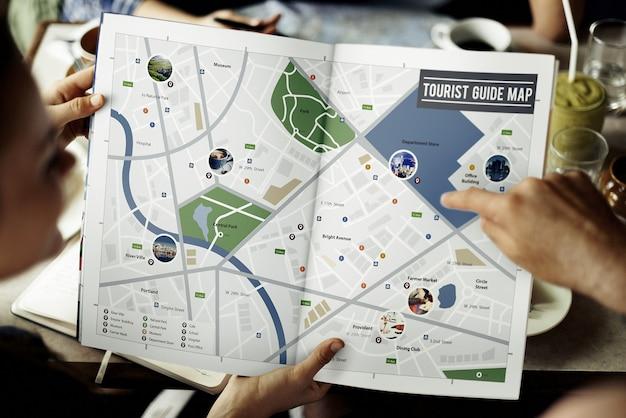 Карта приключение место назначения навигация маршрут маршрут концепция путешествия