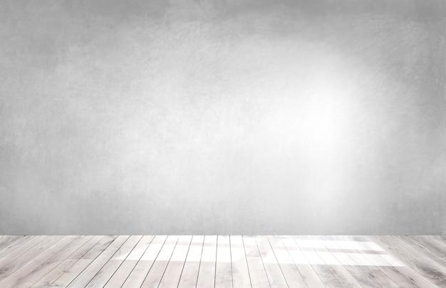 木製の床と空の部屋で灰色の壁