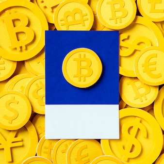 Золотой биткойн символ экономической валюты