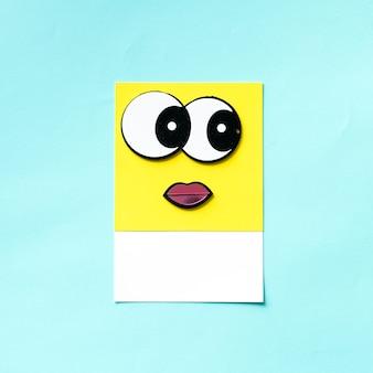 大きな目のキャラクターの顔のデザイン