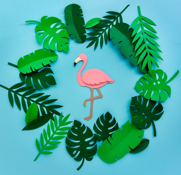 フラミンゴ自然ペーパークラフト葉植物