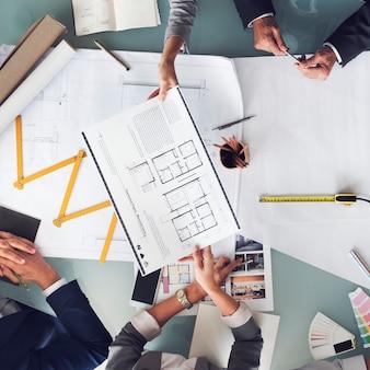 ビジネス人々会議建築設計図設計コンセプト