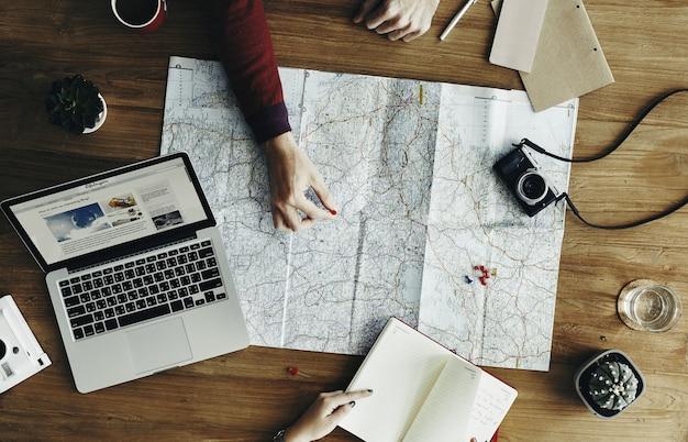 地図場所方向場所リモートリラックスコンセプト