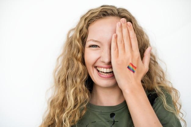 Лгбт гордость цвета поддержки окрашены под рукой