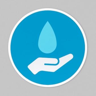 滴り落ちる水のアイコンの下に手します。