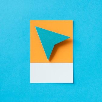 Значок стрелки бумаги плоскости треугольника