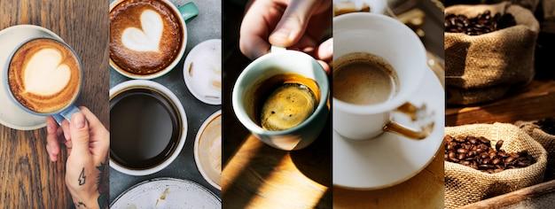 コーヒー豆と各種コーヒーカップ