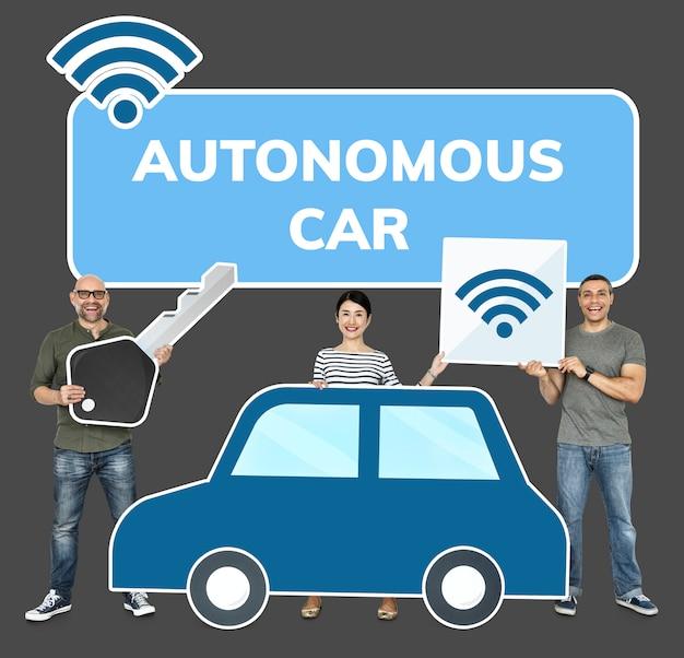 Счастливые люди с высокотехнологичным автомобилем