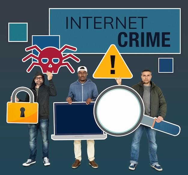 インターネットの犯罪アイコンを持つハッカー