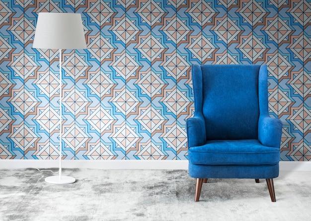 部屋の青い椅子