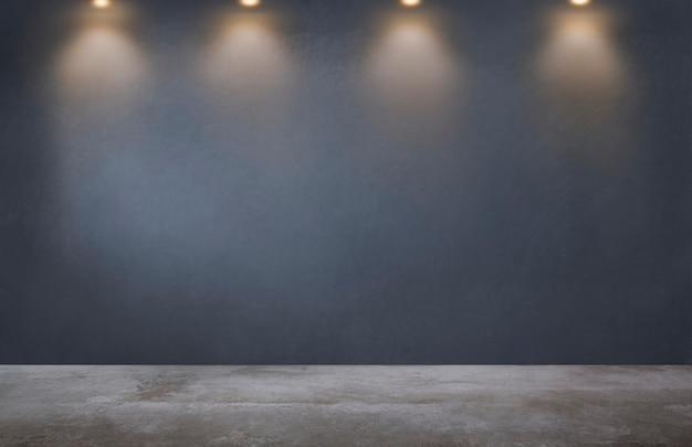 空の部屋でスポットライトの行を持つ暗い灰色の壁