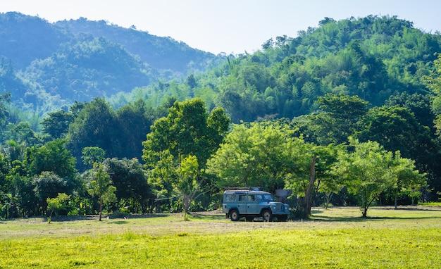 Старый автомобиль в поле с горным фоном