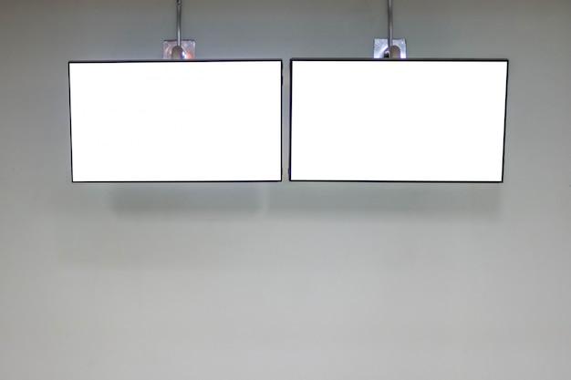 Модель-макет экрана стены сид тв белый на стене для дизайна, концепции дизайна рекламы.