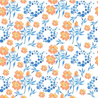 Акварельный цветочный узор, нежные цветочные обои, полевые цветы розовые, пижма, анютины глазки.