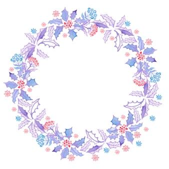 装飾用のクリスマス水彩花輪