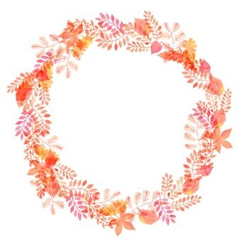 黄色、赤とオレンジ色の葉の水彩画と秋の花輪