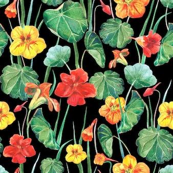 キンレンカの花と葉のシームレスな水彩布の背景