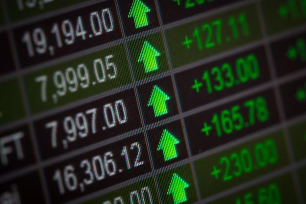 モニター上の財務データ