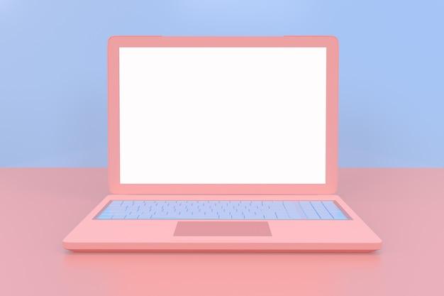 ウェブサイトモックアップデザインのための白い空白の画面ディスプレイを持つ最小ピンクのラップトップ