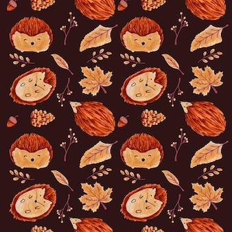 葉とハリネズミのシームレスな秋パターン