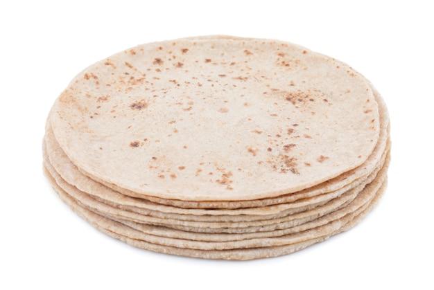 インド料理チャパティ、白背景