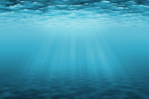 太陽光線と水中の背景