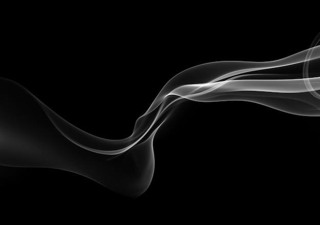 黒の背景、火のデザインに抽象的な黒と白の煙