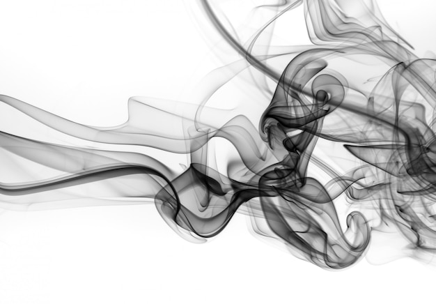 白い背景の上の有毒な煙の動き、火のデザイン