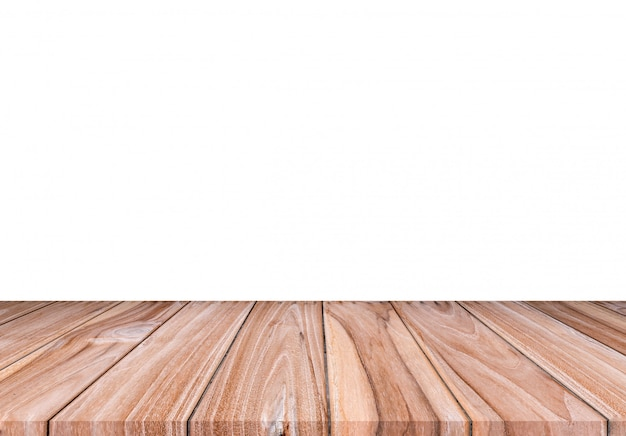 Пустой коричневый деревянный пол на белом