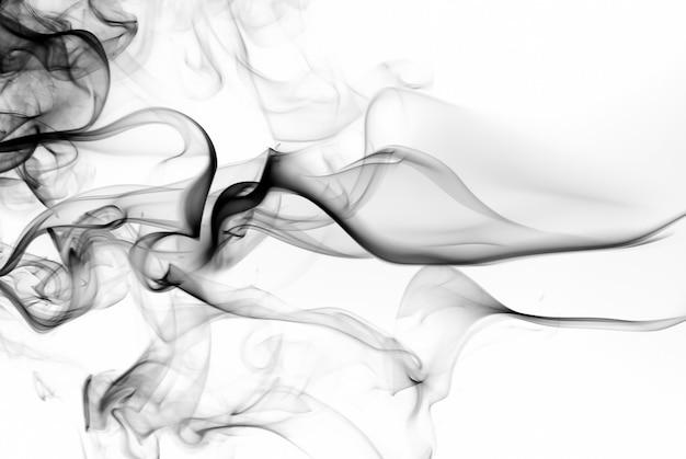 Черный дым аннотация на белом фоне. пожарный дизайн. токсичные пары движутся