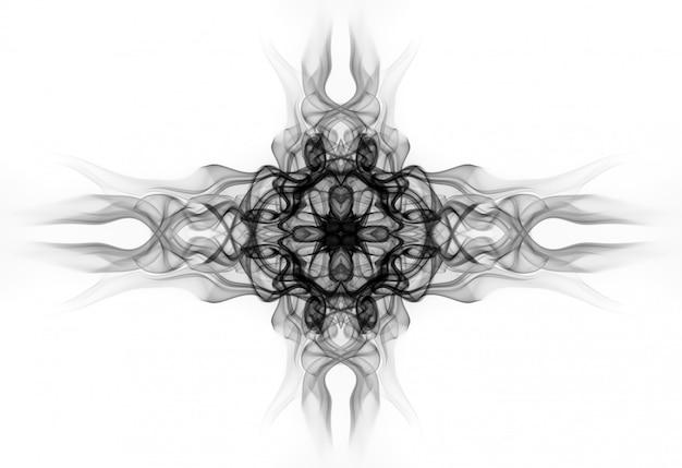 Искусство черного конспекта дыма на белой предпосылке. дизайн огня