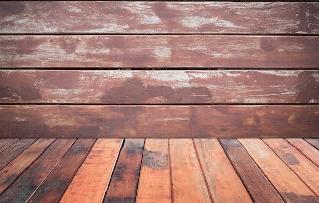 Урожай коричневый деревянный пол с коричневой деревянной стены фоном, для
