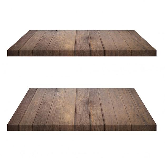 白い背景に分離された空の茶色の木製棚のセット。製品のモンタージュ
