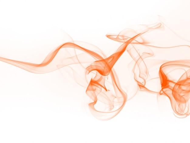 白い背景、インク水にオレンジ煙抽象