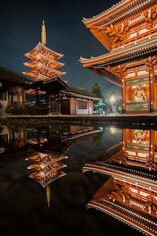 夜の赤いランプ寺院