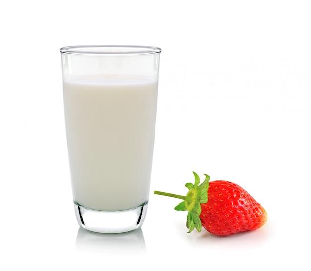 ミルクとイチゴの白のガラス
