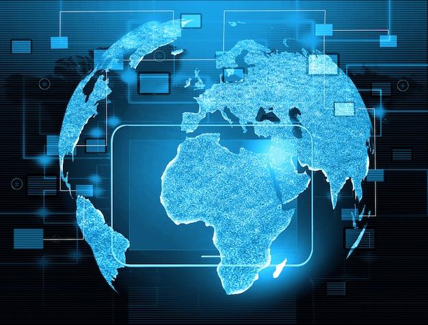 ポインタ、信号、ソーシャルネットワーキングアイコン付きの地球儀、ソーシャルメディアネットワーク