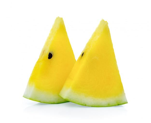 Желтый арбуз на белом