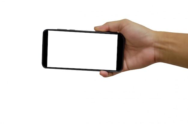 空白の画面を持つ手スマートフォン