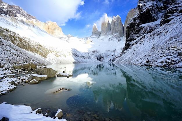 トレス・デル・ペインの美しい景色とその水面への映り