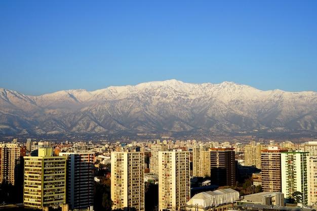 チリ、サンティアゴの街並み。