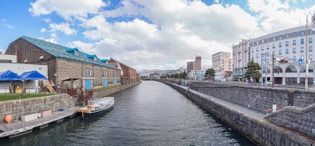 Панорама вид канала отару, хоккайдо, япония