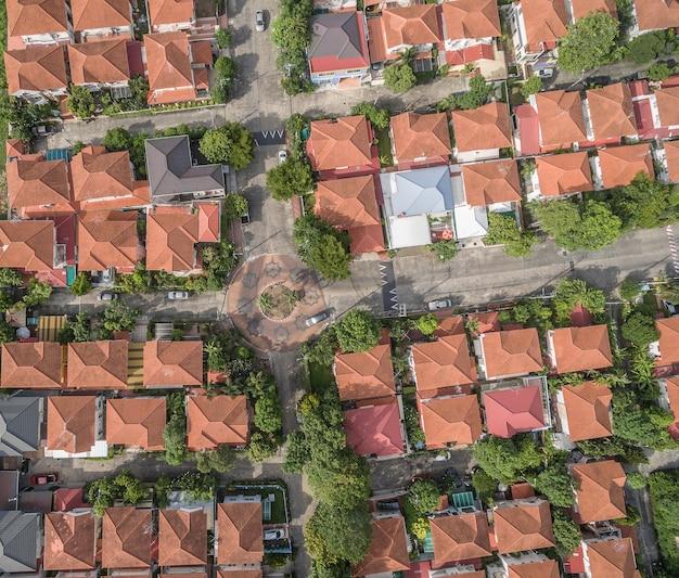バンコクタイの家庭村の航空写真