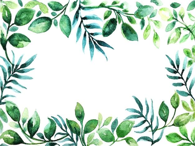 美しいグリーンリーフフレームの水彩画