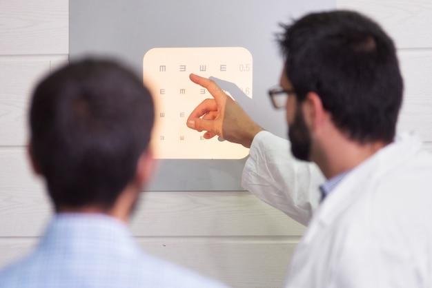 患者が視力検査表を読んでいる間に文字を指す眼科医。