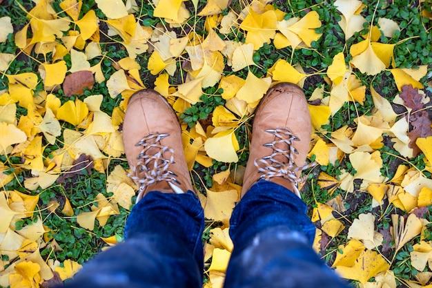 Случайные унисекс сапоги с красочными осенью опавшие листья.